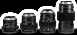 Mamiya Sekor C Medium Format Cine Primes: 24mm f4 fisheye, 35mm f3.5, 45mm f2.8, 55mm f2.8, 70mm f2.8, 80mm f1.9, 80mm macro f4, 110mm f2.8, 145mm Soft Focus f4, 150mm f3.5, 300mm f5.6 | Contrast Cine - Nashville Film & Video Camera Lens Rental